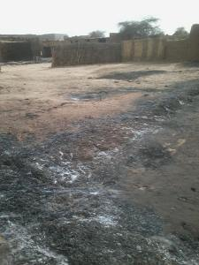 Eight, burnt village without people in picture, April-May 2014