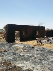 Six, burnt village without people in picture, April-May 2014